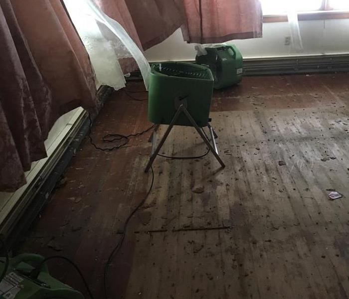 Living Room suffered from Storm Damage