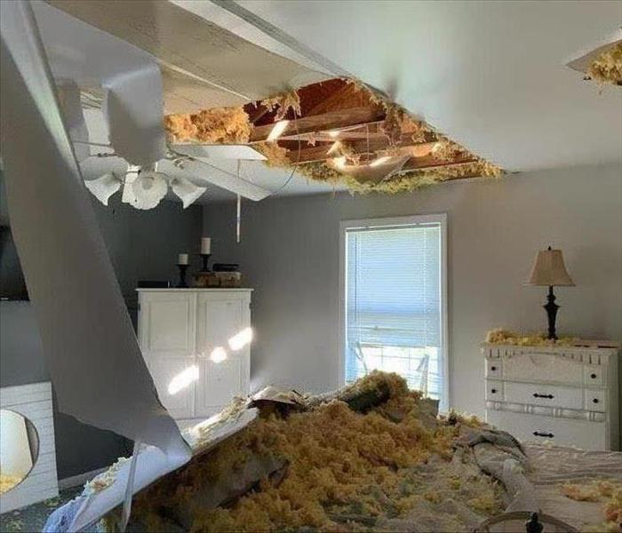 water damaged ceiling, insulation fallen