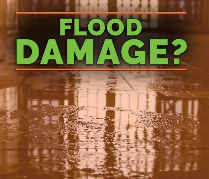 Flood damage written in green on a background of water tinted red