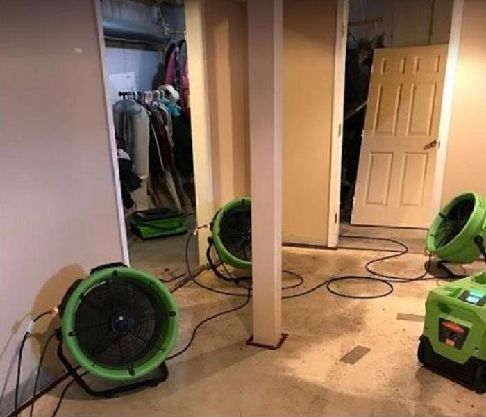 SERVPRO equipment drying water damaged basement